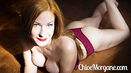Chloe Morgane in Burgundy Lingerie