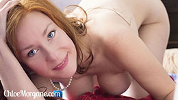 Chloe Morgane in Redhead and Pearls
