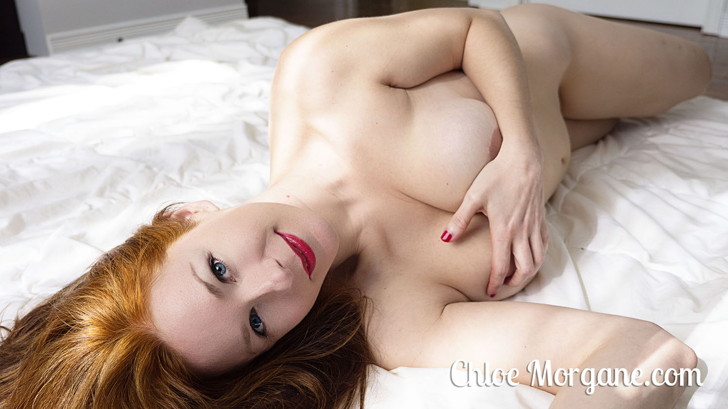 Nude Redhead and Red Lipstick